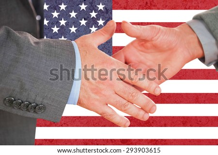 Two people going to shake their hands against marble surface
