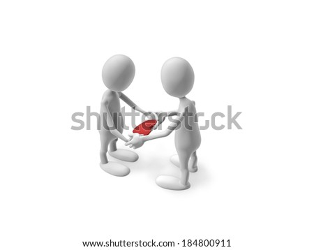 Two people hold in their hands the heart. - stock photo