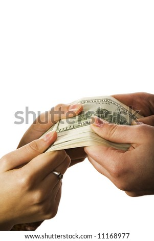 Two people holding big amount of money