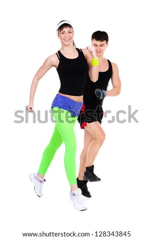 Two People Jogging Together against isolated white background - stock photo
