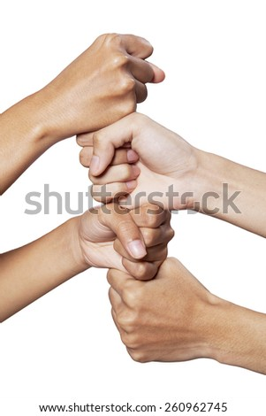 Two people joining their hands and showing cooperation symbol, isolated on white - stock photo