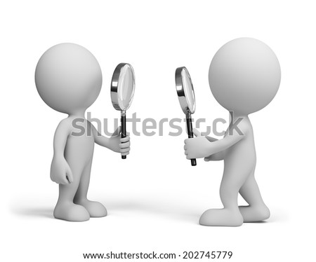 Two people looking at each other with a magnifying glass. 3d image. White background. - stock photo
