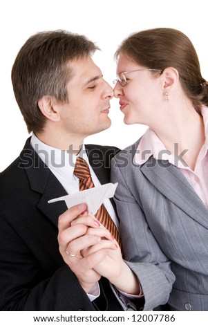 two people of business kissing - stock photo