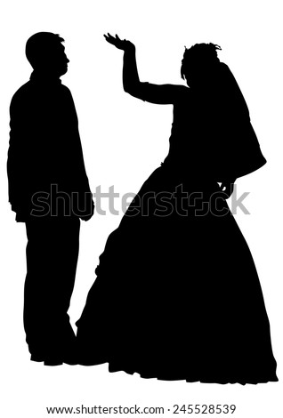 Two people of wedding on white background - stock photo