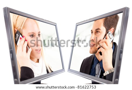 Two people on the phone inside of a monitor - stock photo