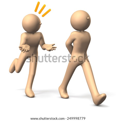 Two people. One is talking from behind.isolated. computer generated image.  - stock photo