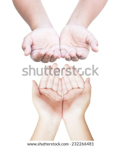 Two people open empty hands with palms up over white background - stock photo