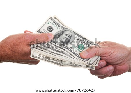 Two people passing a stack of one hundred dollar bills from hand to hand, isolated on white. - stock photo
