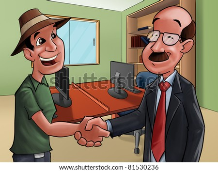 two people shake hands, they are doing a deal - stock photo