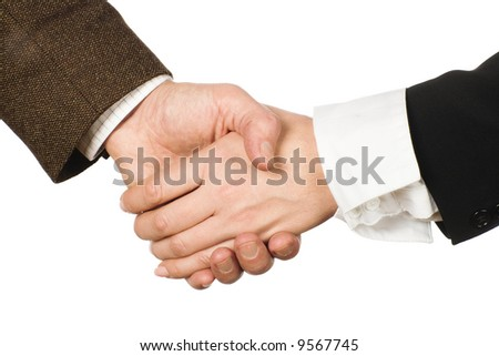 Two people shaking hands isolated
