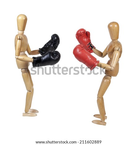 Two people sparring with red boxing gloves - path included - stock photo