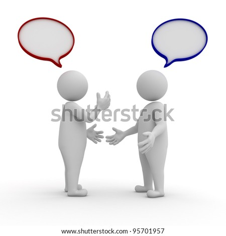 Two people standing and talking with speech bubbles on white background - stock photo