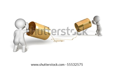 Two people talking at a distance - stock photo