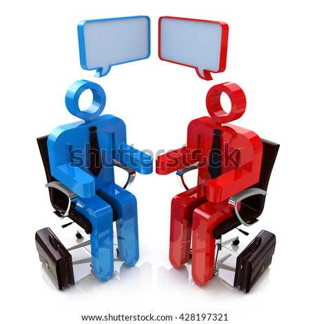 Two people talking - This is a 3d render illustration in the design of information related to communication - stock photo