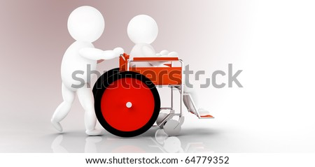 two people, wheelchair - stock photo
