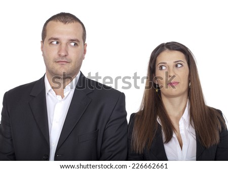 two people who are ashamed - stock photo
