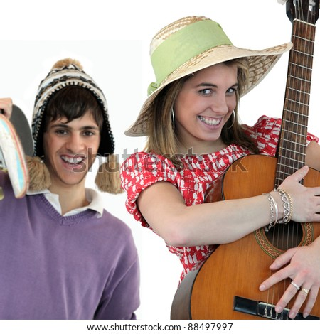Two people with acoustic instruments - stock photo