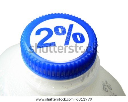 Two percent milk jug - stock photo