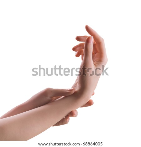 two perfect girls hands trying to feel the pulse isolated on white background - stock photo