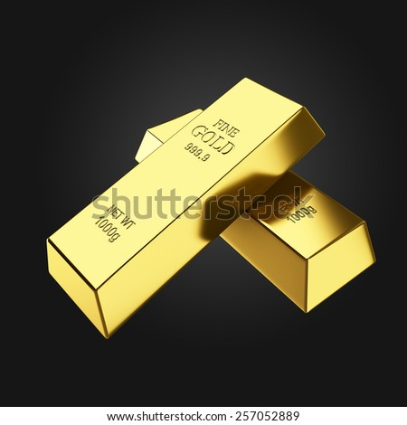 Two perfect gold bars on dark background 3d render - stock photo