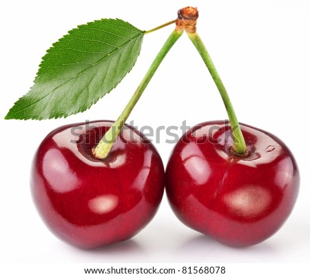 Two perfect sweet cherries with the leaf isolated on a white background. - stock photo
