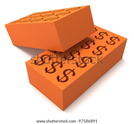 Two perforated bricks with a dollar sign on white backgound - stock photo