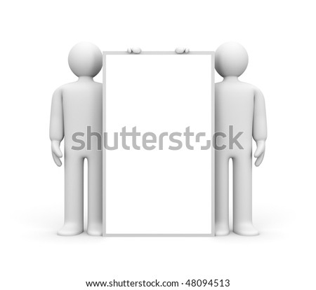 Two person and blank billboard (add you text or design) - stock photo