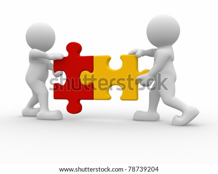 Two person matching puzzle pieces -This is a 3d render illustration