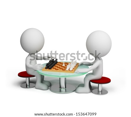 Two person playing chess. 3D image. White background. - stock photo