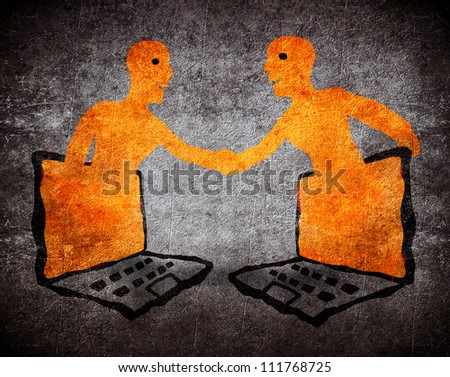 two person two people know each other through pc - stock photo