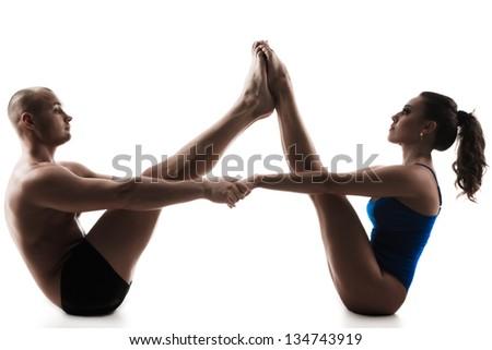 Young And Beautiful Woman Doing Yoga Exercises Yoga ...