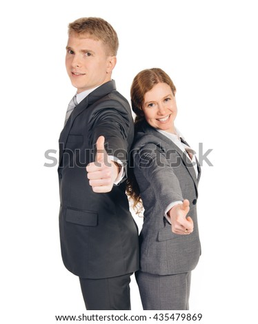 two persons in suits standing isolated