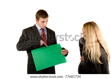 two persons with a board - stock photo