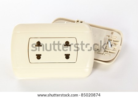 Two Peruvian plastic sockets on white (Selective Focus, Focus on the socket) - stock photo