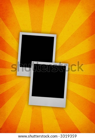 two photo frames against paper retro background