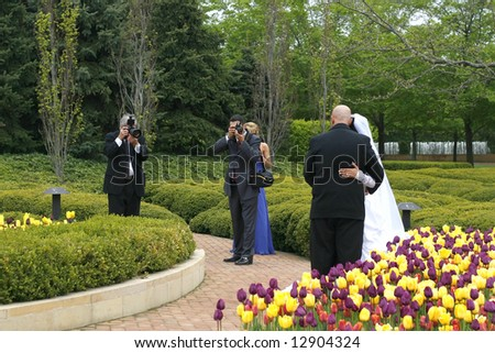 two photographers photographing bride and groom - stock photo