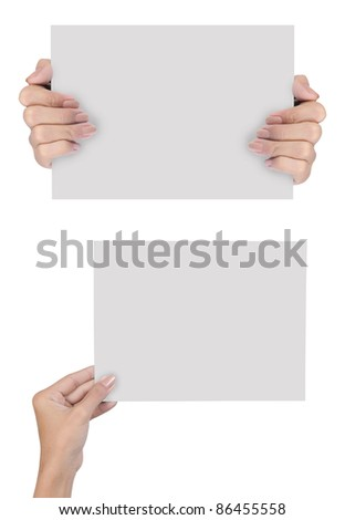 Two picture hand holding blank paper isolated on white background - stock photo
