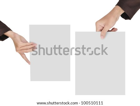 two pictures of businesswoman's hand holding blank paper, isolated on white background
