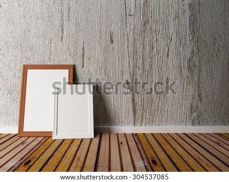 two pictures on the wooden floor, 3d rendering - stock photo