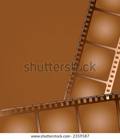 two pieces of aged brown film laying in different directions