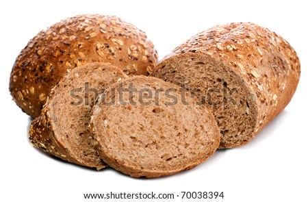 Two pieces of black rye bread square isolated on a white background - stock photo