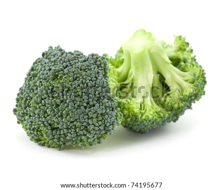 two pieces of broccoli isolated on white background