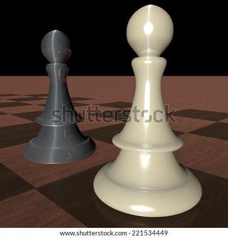 Two pieces of chess over wooden chessboard, 3d render