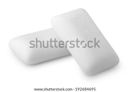 Two pieces of chewing or bubble gums isolated on white with clipping path - stock photo