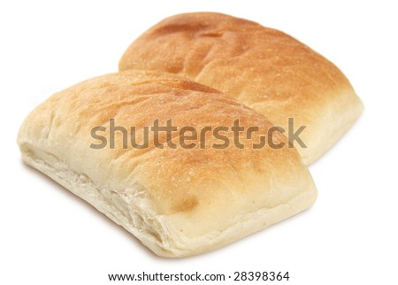 Two pieces of Ciabatta bread on white. Narrow depth of focus