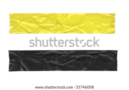 Two pieces of crumpled tape. Isolated on white. Clipping path included. - stock photo