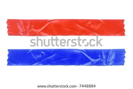 Two pieces of crumpled tape. Isolated on white. Clipping path included.