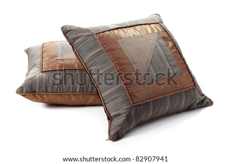 two pieces of ethnic pillow - stock photo