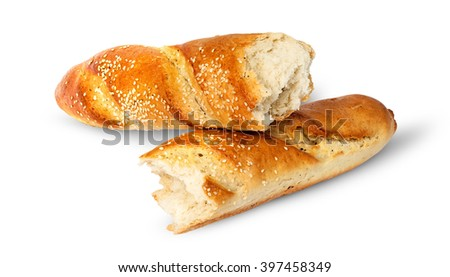 Two pieces of French baguette crosswise isolated on white background - stock photo