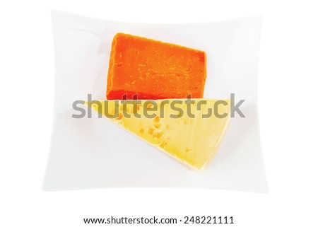two pieces of french gourmet cheeses  on china plate isolated over white background - stock photo